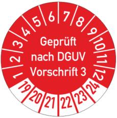 Prüfplakette DGUV Vorschrift 3